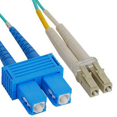 LC-SC Duplex Multimode 50/125 (OM3) Fiber Optic Patch Cable in Aqua