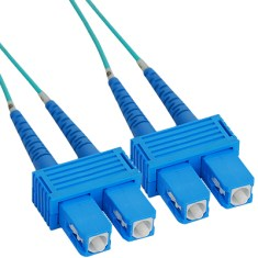 SC-SC Duplex Multimode 50/125 (OM3) Fiber Optic Patch Cable with in Aqua