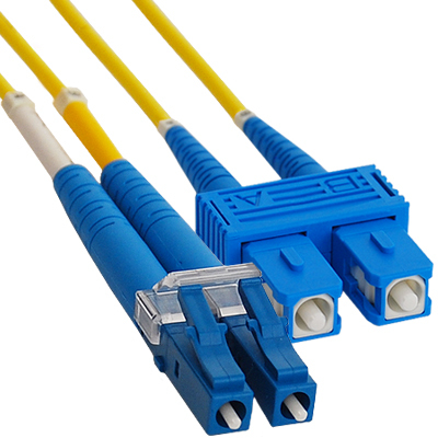 LC-SC Duplex Singlemode 9/125 (OS1) Fiber Optic Patch Cable in Yellow