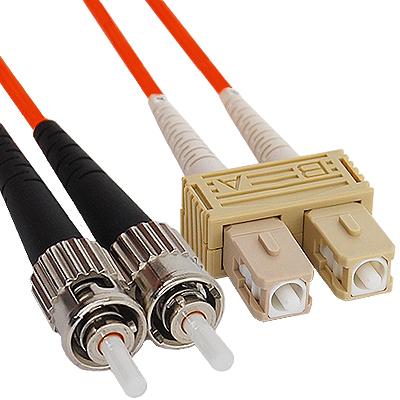 SC-ST Duplex Multimode 62.5/125 (OM1) Fiber Optic Patch Cable in Orange