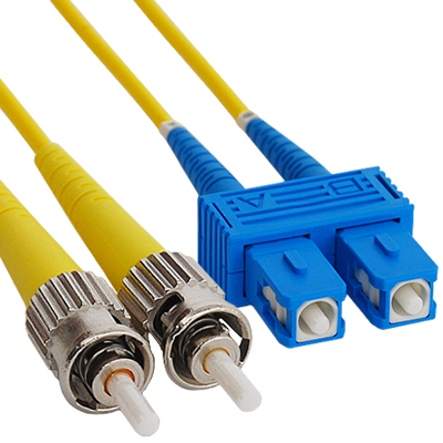 SC-ST Duplex Singlemode 9/125 (OS1) Fiber Optic Patch Cable in Yellow