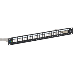 CAT6A FTP Blank Patch Panel with 24 Ports and Zinc Alloy Rear Cable Management Bar for HD Style in 1 RMS