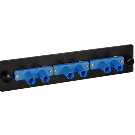 ST-ST 3 Duplex Fiber Optic Adapter Panel with Blue Singlemode for 6 Fibers