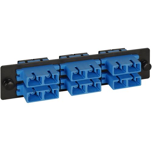 SC-SC Fiber Optic LGX Adapter Panel with Blue Singlemode Adapters for 12 Fibers
