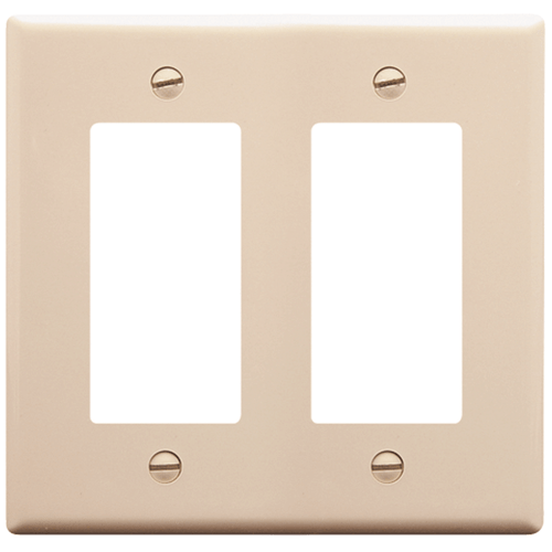 Decorex Faceplate with 2 Insert Spaces in Double Gang