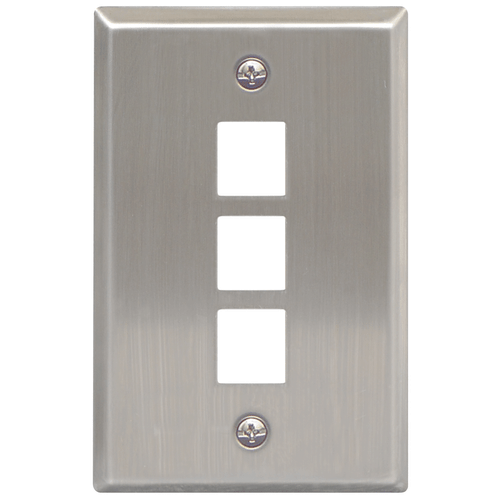 Classic Stainless Steel Faceplate with 3 Ports for EZ/HD Style in Single Gang