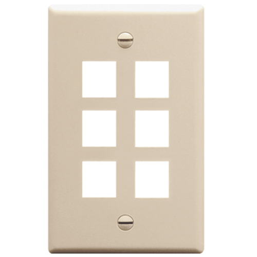 Classic Oversized Faceplate with 6 Ports in Single Gang