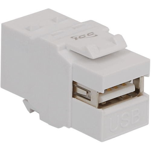 USB A to B Female to Female Modular Connector for HD Style in White