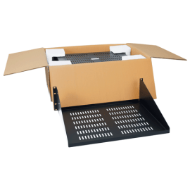 """15"""" Deep Vented Single-Sided Rack Shelf with 3 RMS in 2-Pack"""