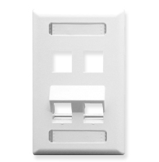 Angled Station ID Faceplate with 2 Flat Port and 2 Angled Ports for EZ/HD Style in Single Gang in White