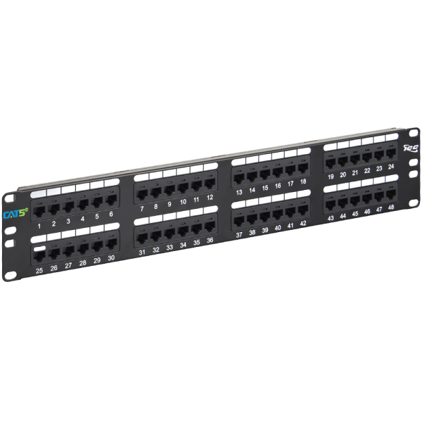 CAT5e Patch Panel with 48 Ports and 2 RMS