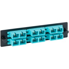 SC-SC 3 Duplex Fiber Optic Adapter Panel with Aqua Multimode for 6 Fibers