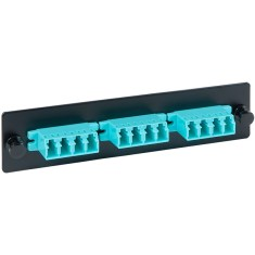 LC-LC Fiber Optic LGX Adapter Panel with Quad Aqua Multimode Adapters for 12 10G Fibers