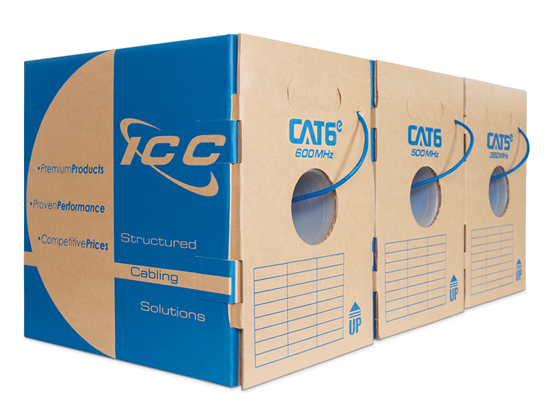 Boxes of CAT6e, CAT6, and CAT5e Bulk Cable
