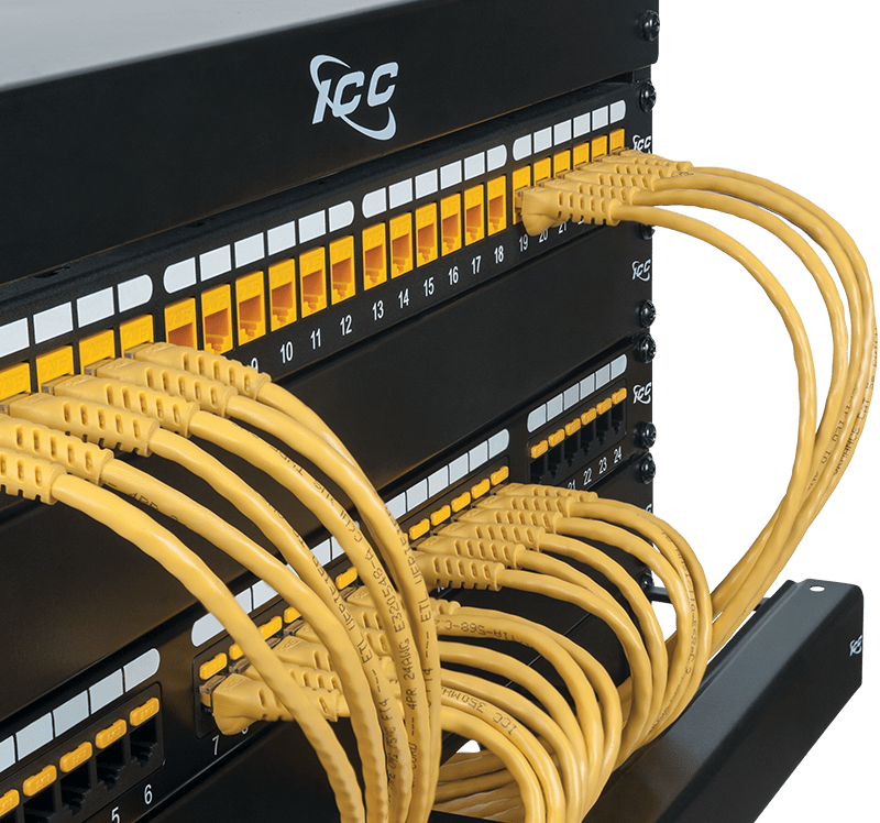 CAT6 Patch Panel with Yellow Patch Cords