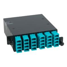 ICFC24MLHG LC MPO Fiber Optic HD Cassette with Aqua Multimode Adapters-24 10G OM3 Fibers