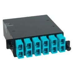 ICFC12MCHG SC MPO Fiber Optic HD Cassette Aqua Multimode Adapters 12 10G OM3 Fibers