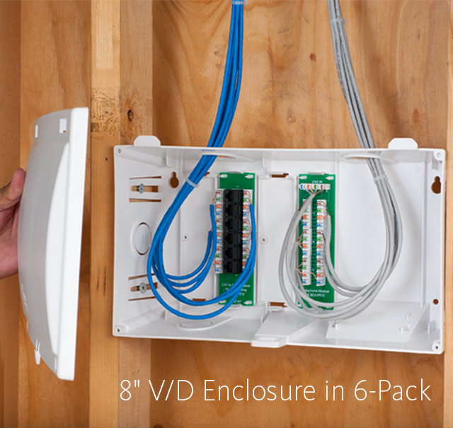 8-inch Voice and Data Residential Wiring Enclosure Combos in 6-Pack