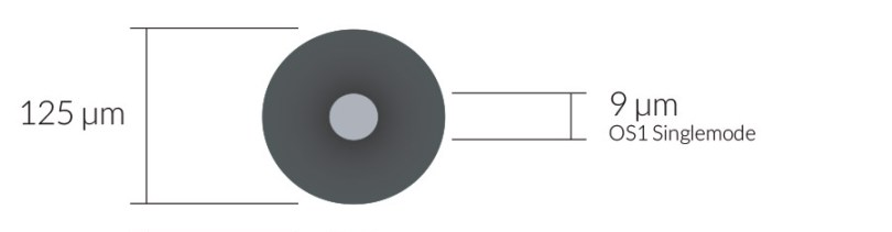 OS1 Singlemode fiber core, 125 µm (micro-inches) cladding diameter and 9 µm (micro-inches) core