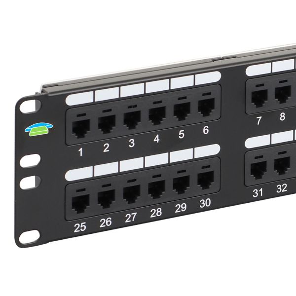 Voice USOC Patch Panel with 48 Ports and 2 RMS Close Up ICMPP048U6