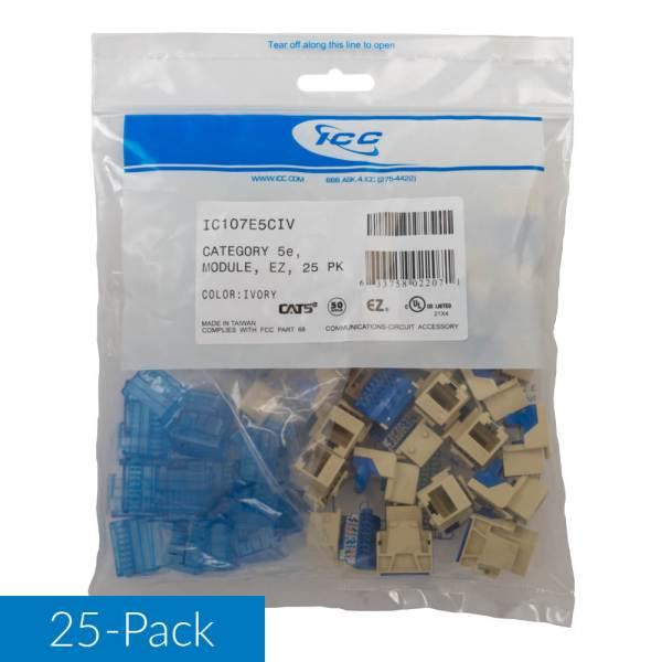 CAT5e RJ45 Ivory Keystone Jack for EZ Style 25 Pack IC107E5CIV