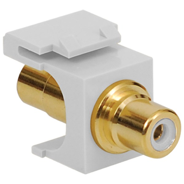 RCA to RCA Modular Jack with White Insert and Gold Plated Connector in HD Style and White