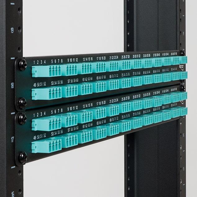 LC-LC Fiber Optic Patch Panel Pre-loaded with 96 10G Aqua Fibers
