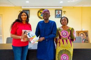 ICCF coordinator Mrs Matilda Otitoloju with the Governor of Lagos state and his wife. Gov. Babajide Sanwo-Olu & Dr Ibijoke Sanwo-Olu