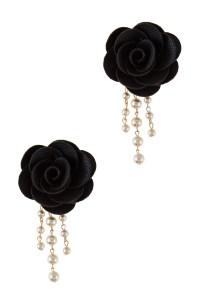 Faux leather flower with linear pearls drop earrings