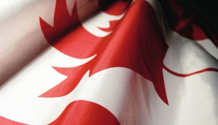 Image of Canadian Flag from the side and slightly creased or folded