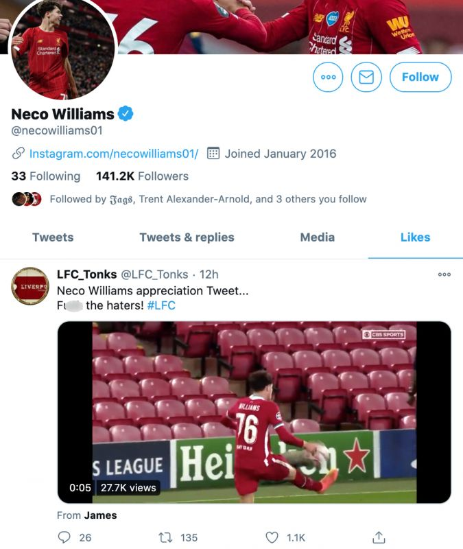 Neco Williams likes the 'fuck the haters' tweet