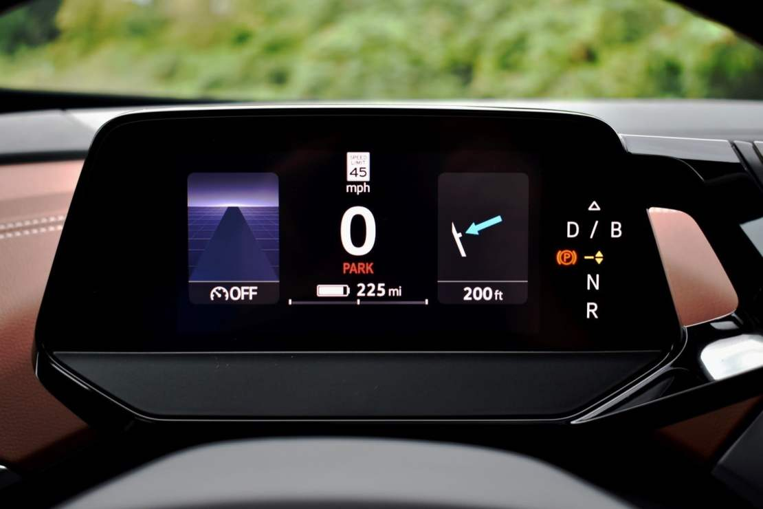 The 2021 Volkswagen ID.4 AWD's instrument cluster.