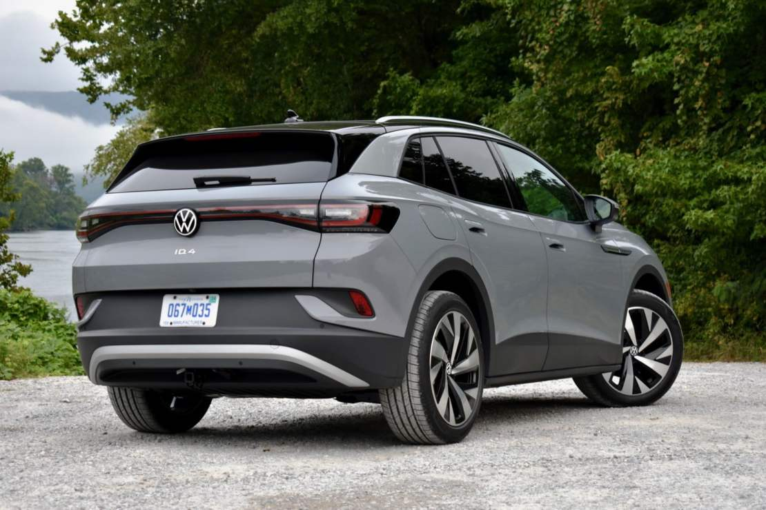 Rear three quarter view of the 2021 Volkswagen ID.4 AWD.