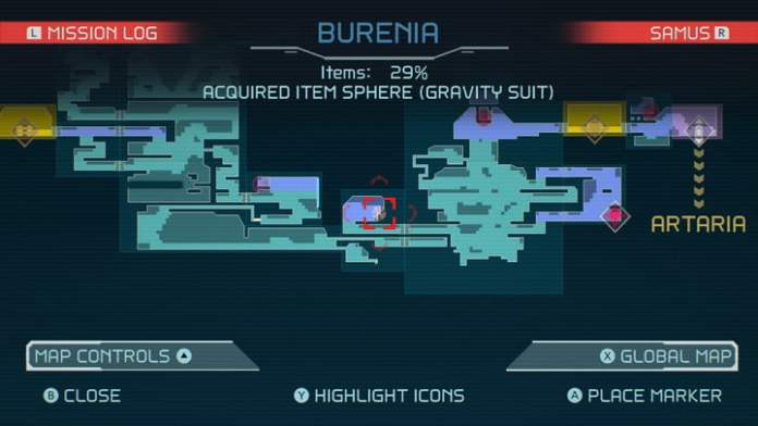 Map of the Gravity Suit location in Metroid Dread.