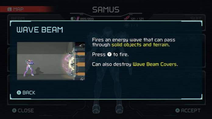 Wave Beam from Metroid Dread.