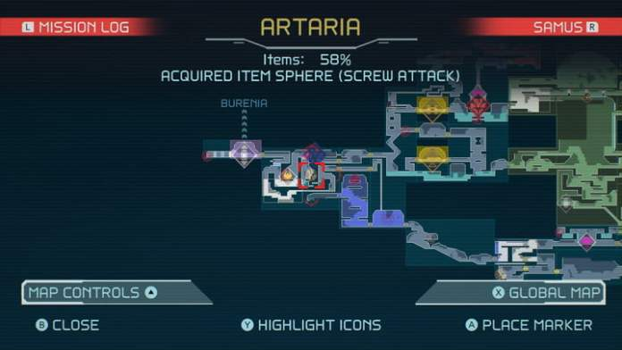 Map of Screw Attack in Metroid Dread.
