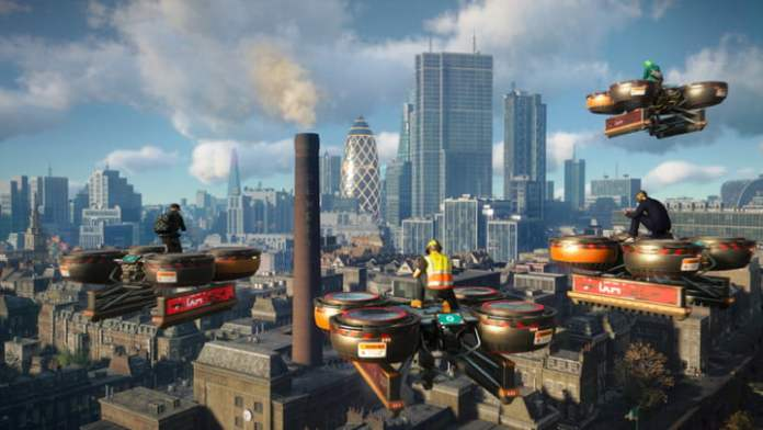 Watch the Dogs Legion player fly over the city.