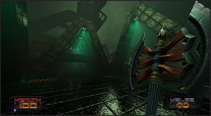 A player wielding an axe in Amid Evil.