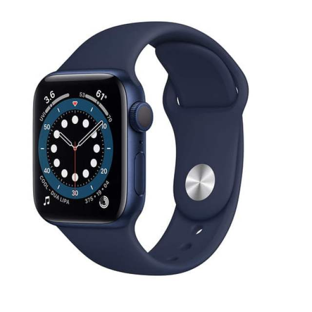 The Apple Watch Series 6 with a blue aluminum case and a deep navy sport band.