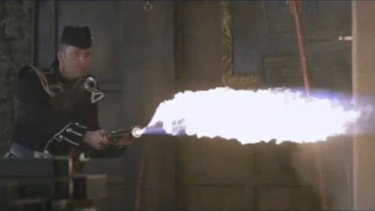 Flamethrower bagpipes from James Bond's The World Is Not Enough movie.