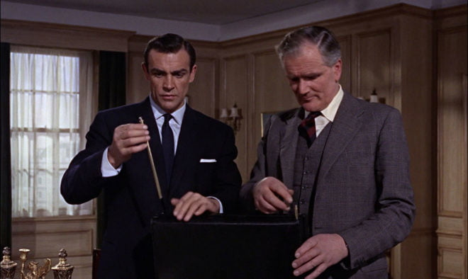 James Bond checks his trick briefcase in From Russia with Love.