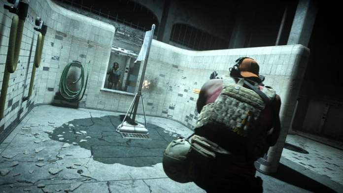 A player moves to capture the flag in the Gulag in Call of Duty: Warzone.