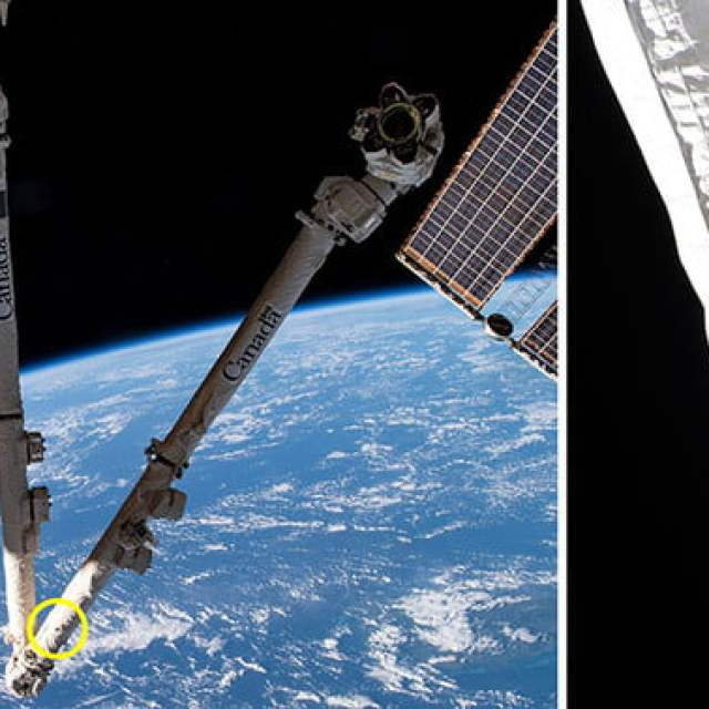 Space debris damage to the space station's Canadarm2 robotic arm.