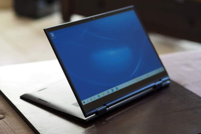 The Dell Inspiron 14 2-in-1 is folded in the back.