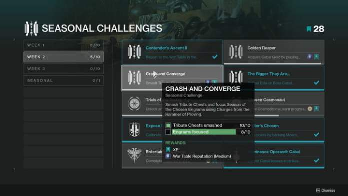 A list of challenges in destiny 2.