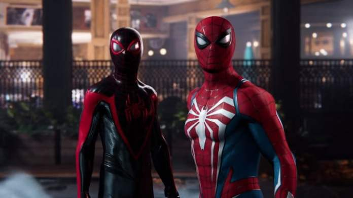 Miles Morales and Peter Parker stand together in Spider-Man 2.