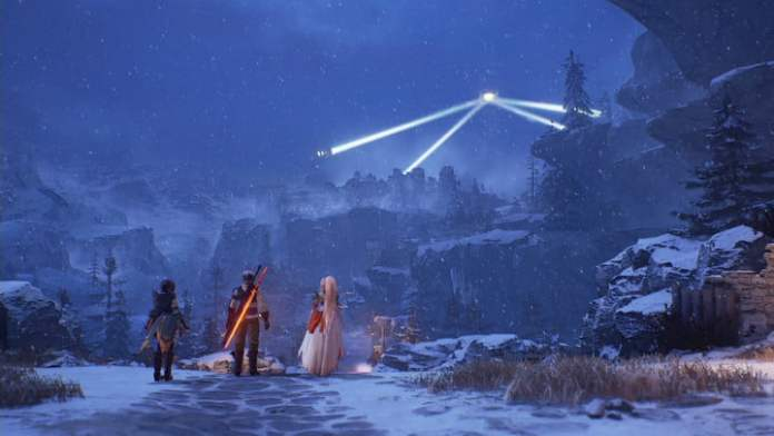 The cast of Tales of Arise sees a light in the sky.
