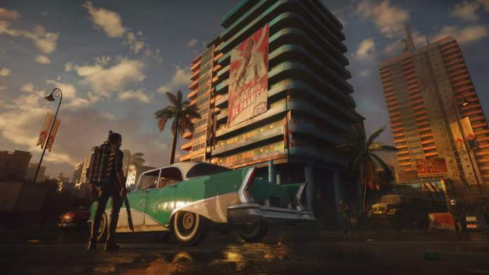 A car and a large building in Far Cry 6.