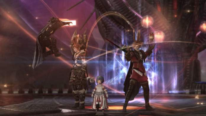 """The first FFXIV Endwalker dungeon features four characters at the end of """"The Tower of Zote""""."""