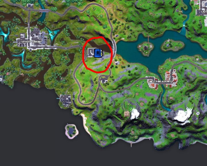 Map showing the location of the Fortnite doomsday preppers guide at Hydro 16.